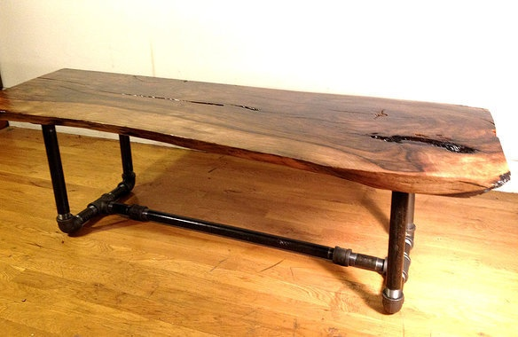Furniture by fallen industry made from old timber and - Black plumbing pipe furniture ...