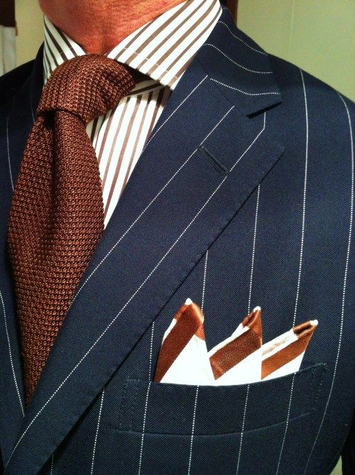 """thesnobreport: """" WIWT Blue pinstripe Polo RL suit, irregular brown striped MTM shirt by Emanuel Berg, brown knitted Tom Ford tie and square by Simonnot Godard """""""