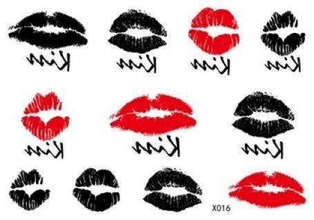 SPESTYLE waterproof non toxic fashionable and beautiful tattoos stickers sexy and sweet kiss, red lips and black lips temporary tattoos stickers *** You can get additional details at the image link.