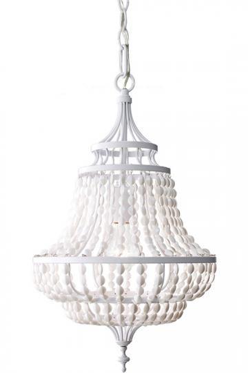 Maarid 1-Light Chandelier - Beaded Chandelier - White Chandelier - Dining Room Chandeliers - Ceiling Fixtures - Lighting   HomeDecorators.com