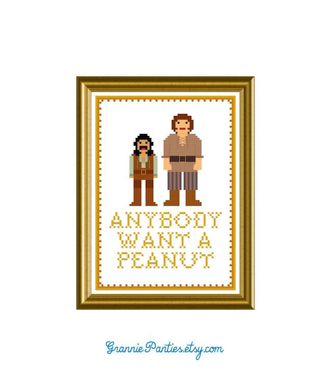 PDF Cross Stitch Pattern - Princess Bride quote Anybody Want a Peanut 5in x 7in Sampler Handmade supply Kitsch Crafter Decor 80's Wrought by granniepanties on Etsy https://www.etsy.com/listing/118196277/pdf-cross-stitch-pattern-princess-bride