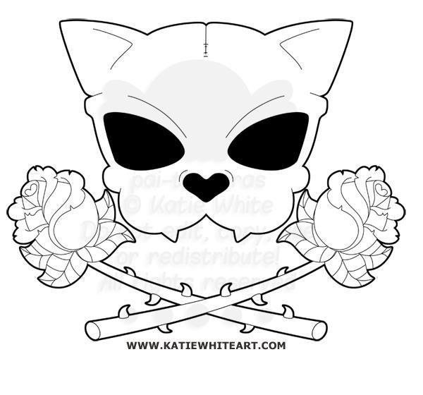 CAT SKULL & CROSSED ROSES - www.katiewhiteart.com