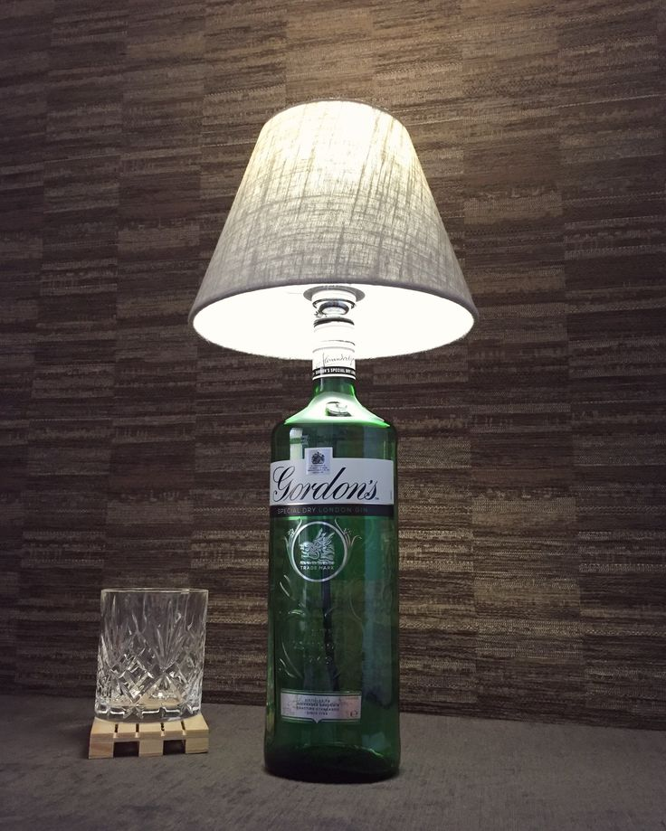 Now on Etsy! :) https://www.etsy.com/uk/listing/512007580/gordons-gin-bottle-lamp-with-linen-shade?ref=shop_home_active_1 #gin #bottlelamp #lamp #steampunk #boho #crafts #etsy #upcycled #gordons