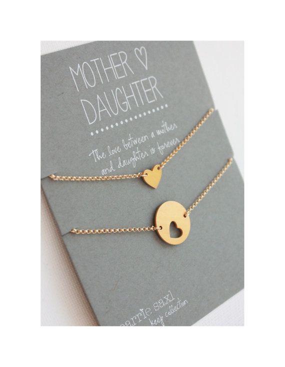 Moeder dochter Armband Set - gouden hart. Moederdag cadeau. moeder dochter sieraden. moeder armband.  huwelijksjuwelen. voor mamma. moeder cadeau