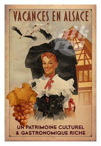 Vintage Travel Poster - Vacances en Alsace.