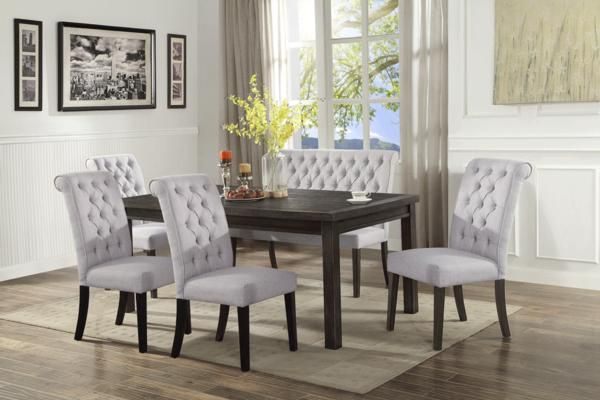 7 Pc Dining Room Set Cardi S Furniture Mattresses Luxury Dining Room Dining Room Bench Neutral Dining Room