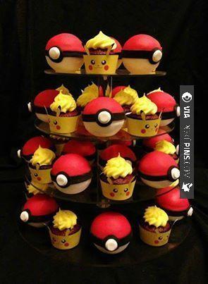 Awesome - Pokémon Cupcakes. I gotta make these some day XD | CHECK OUT MORE pikachu PHOTOS AT POKEPINS.COM | #pokemon #gottacatchemall #pikachu #charmander #squirtle #bulbasaur #ferokie #haunter #garydos #mew #mewtwo #shiny #teamrocket #teammagma #ash #misty #brock