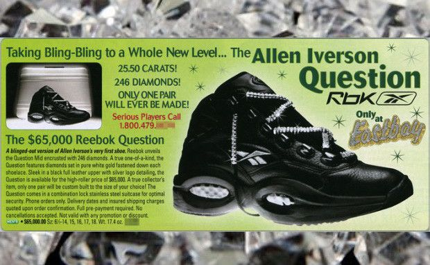 World's Most Expensive Shoes for Men: diamond-encrusted Reebok Question shoes - Rich and Loaded