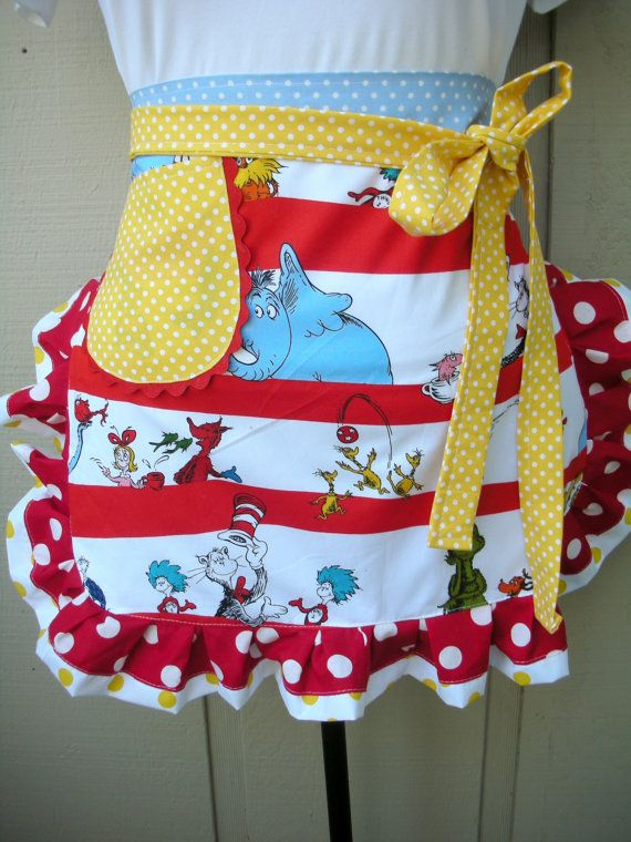 Aprons - Dr. Suess Apron - Womens Half Apron - The Cat in the Hat Apron - Dr. Seuss - 1957 - Teachers Gift - Robert Kaufman Fabric on Etsy, $28.95