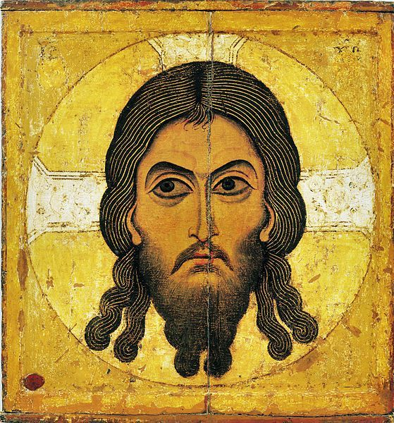 """The Savior Not Made by Hands,"" a Novgorodian icon from ca. 1100. John of Damascus (died 749) mentions the image in his anti-iconoclastic work On Holy Images."