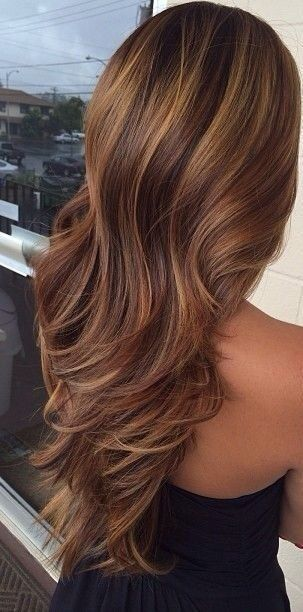 Hair layered with highlights in brown and caramel