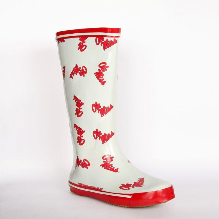 Fanshoes Ncaa Ole Miss Rebel Women's Scattered Logo Rain Boots