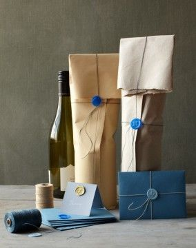 Brown paper  wax seals for wine bottles