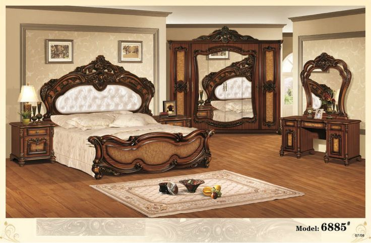 European style king size home furniture,antique bedroom  ~ Quarto Rustico Antigo
