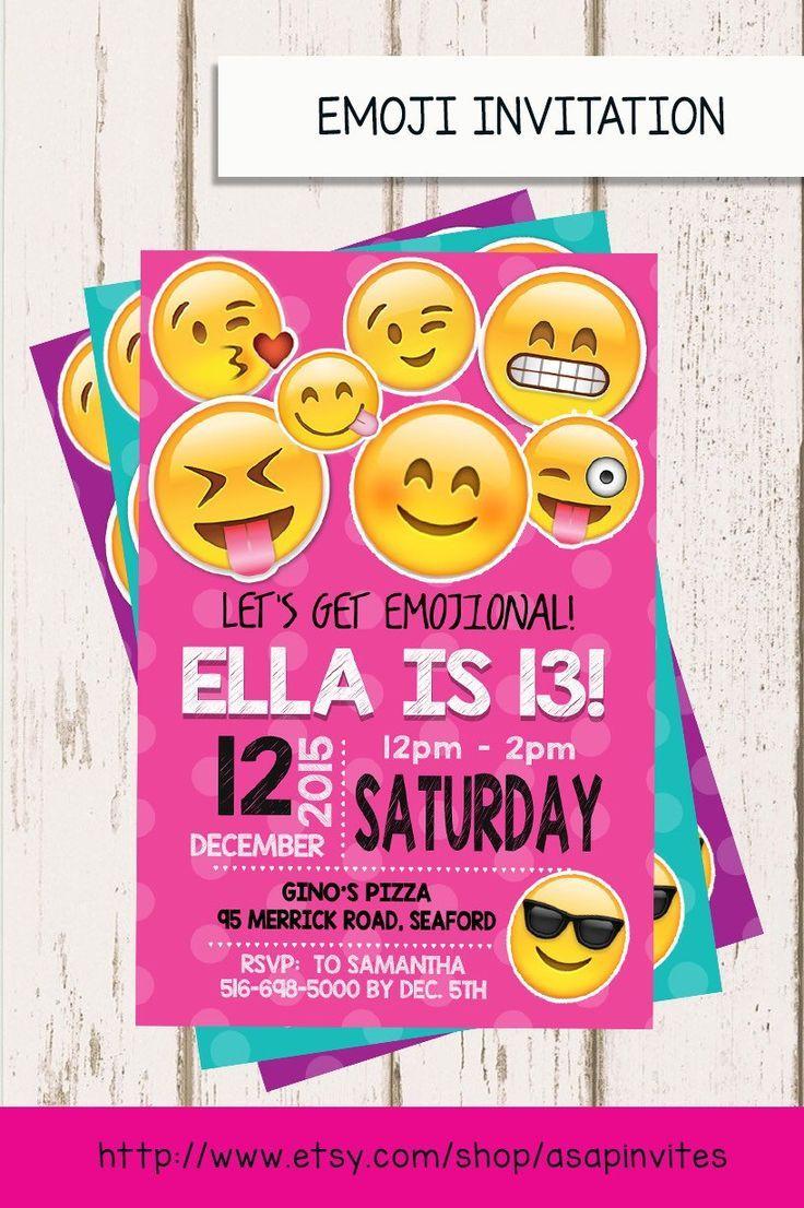 EMOJI BIRTHDAY INVITATION Emojis Emoji Invite Collectibles Girl Digital File Party Diy 3 Colors Sweet 16 By Asapinvites On Etsy