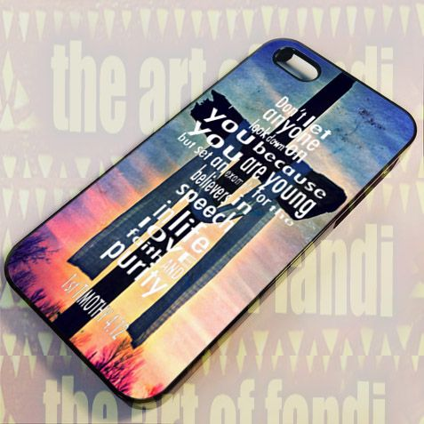Bible Verses Christian 1 Timothy For iPhone 4 or 4s Black Rubber Case
