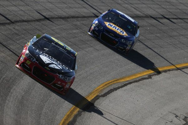 Chase Elliott Photos Photos - Michael McDowell, driver of the #95 Thrivent Financial Chevrolet, leads Chase Elliott, driver of the #24 NAPA Auto Parts Chevrolet, during the NASCAR Sprint Cup Series Folds of Honor QuikTrip 500 at Atlanta Motor Speedway on February 28, 2016 in Hampton, Georgia. - NASCAR Sprint Cup Series Folds of Honor QuikTrip 500