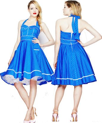 Dot halter swing dress modern grease clothing and accessories co