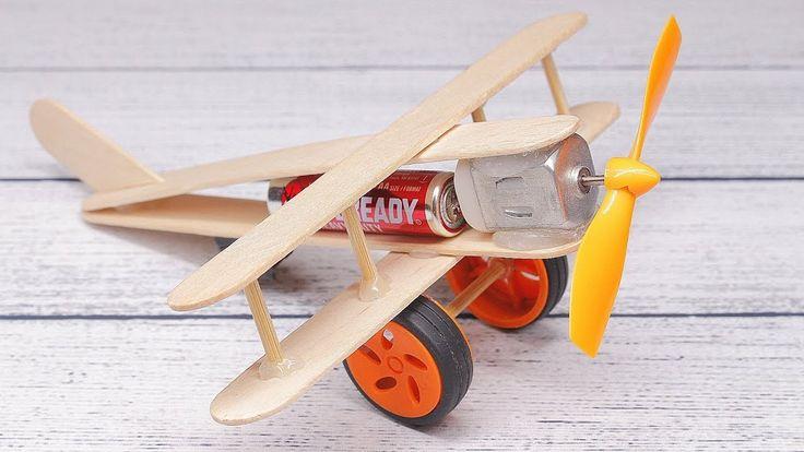 Wie man ein Flugzeug mit Gleichstrommotor macht - Toy Wooden Plane DIY