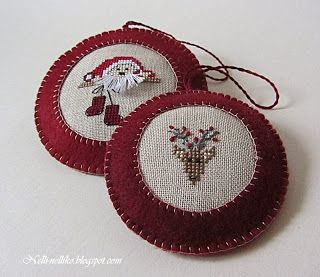 Cross Stitching Christmas Ornaments Reindeer Santa / Kreuzstich Anhänger Weihnachten Rentier Weihnachtsmann