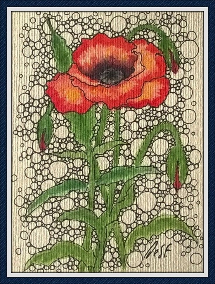 ACEO Original painting Red poppy flower doodle miniature art Desf