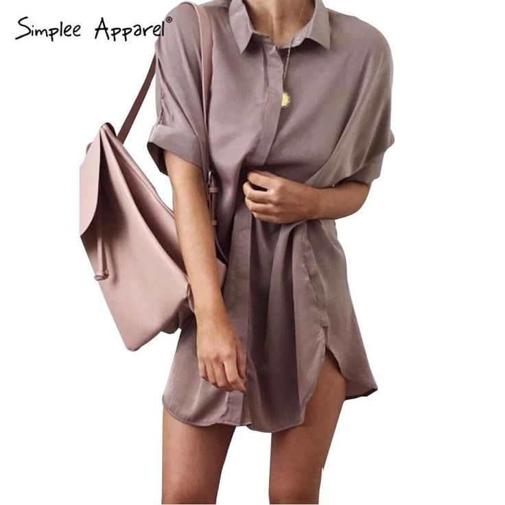 Aliexpress.com: Comprar Simplee Ropa casual side dividir satén camisa de vestir…