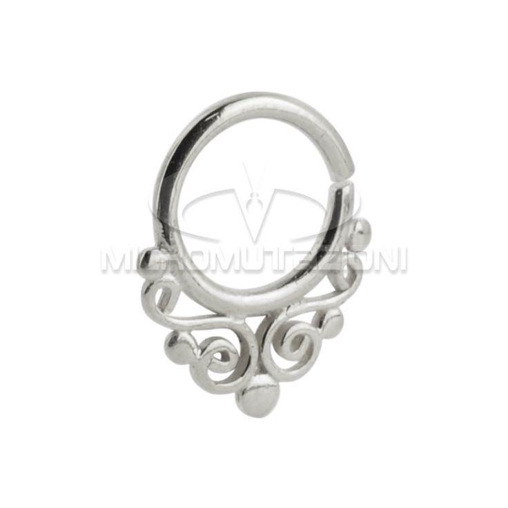 Piercing Indiano, Piercing septum, Piercing setto nasale in argento 925 con ornamenti stile Indiano, Artigianale Made in Italy di Micromutazioni su Etsy