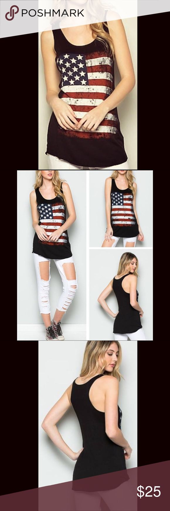 Racerback Flag Tank - Classic black racerback tank (longer length) - Distressed flag print on front  - 95% rayon / 5% spandex - Made in the USA - Machine wash cold separately Tops Tank Tops
