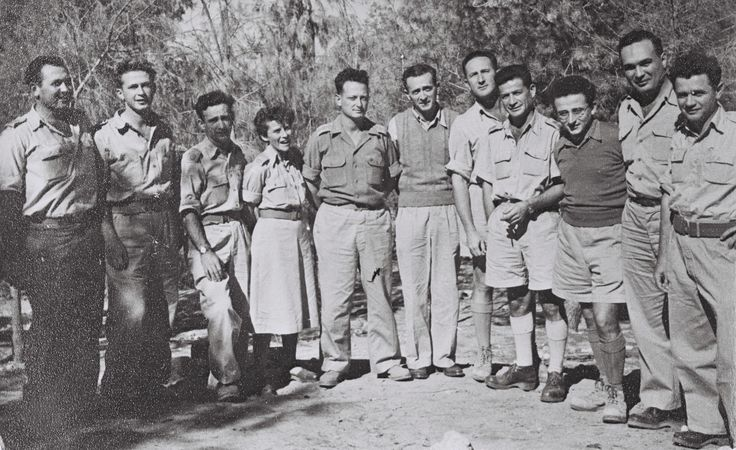 YITZHAK RABIN & YIGAL ALLON WITH PALMACHNIKIM