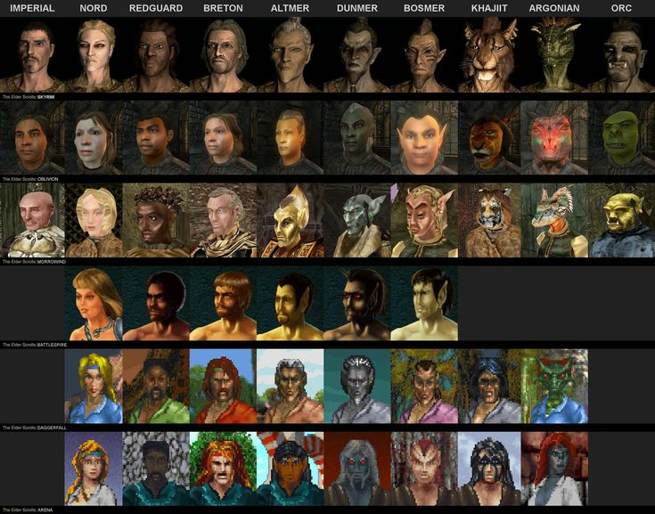 The Evolution of all races in The Elder Scrolls series.