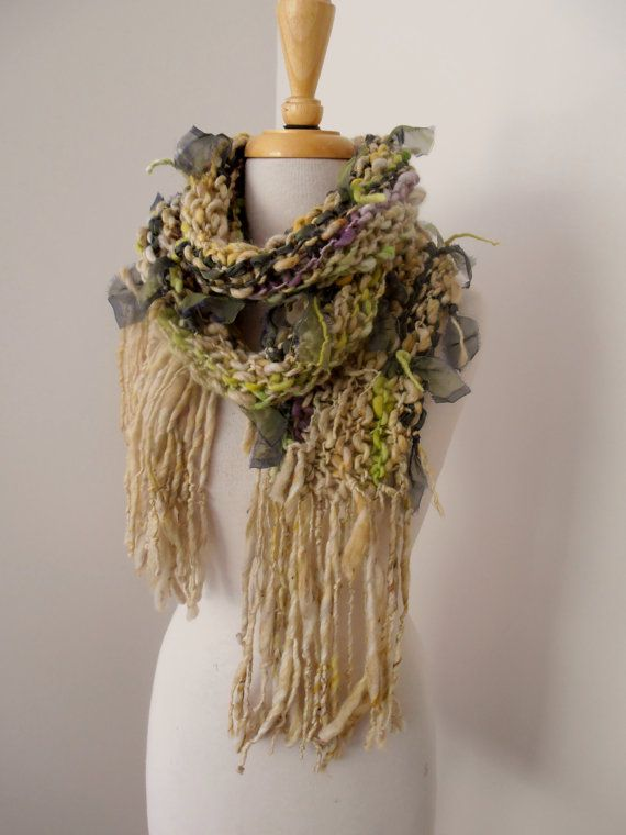 Scarf  Hand Spun Hand Knit  Art Yarn  merino  silk by plumfish
