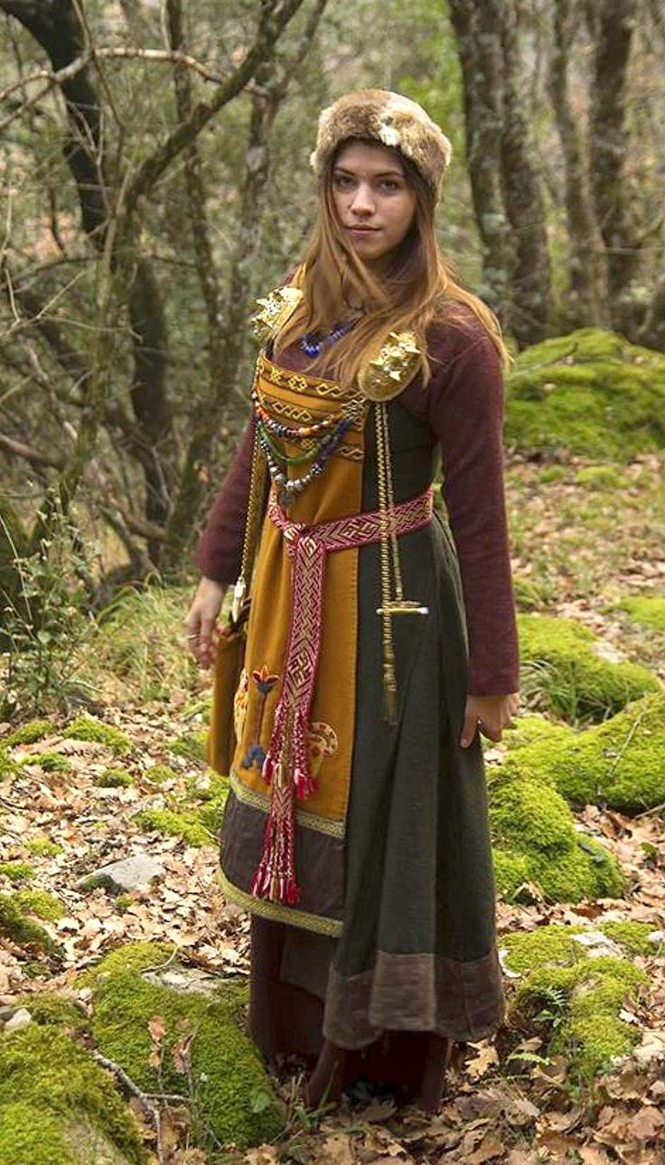 Innovative Viking Woman Wearing A Bsuspended Dress