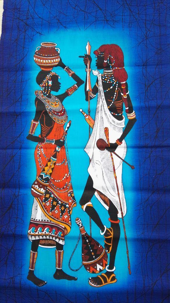 Maasai Couple Batik Maasai Batik African Wax Batik Kenya
