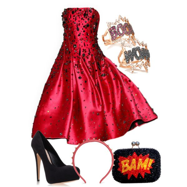 Disney Homecoming: Violet by theangrylioness on Polyvore featuring polyvore, fashion, style, Carvela Kurt Geiger, Diane Kordas, Valentino and clothing
