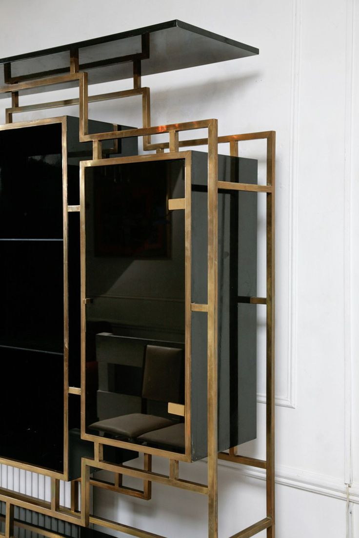 French Brass Display Cabinet Sideboard with Glass Doors and Lacquered Wood by Kim Molter 1970s