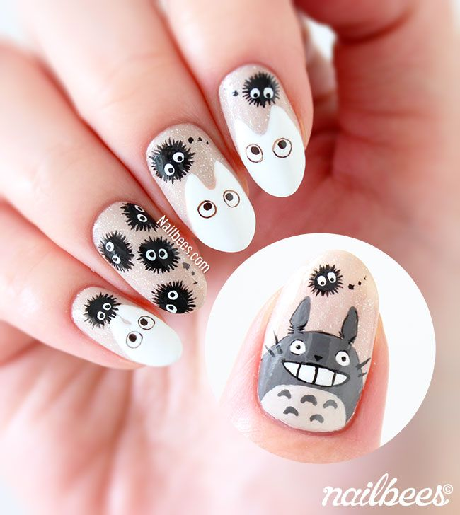 My Totoro Inspired Nail Art with a tutorial! I used Cherish from piCture pOlish …