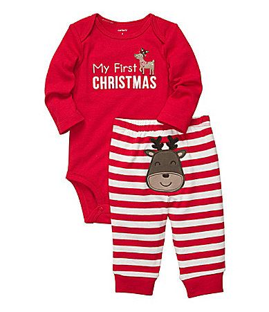 Carters Newborn24 Months My First Christmas Holiday Bodysuit and Striped Pants Set #Dillards