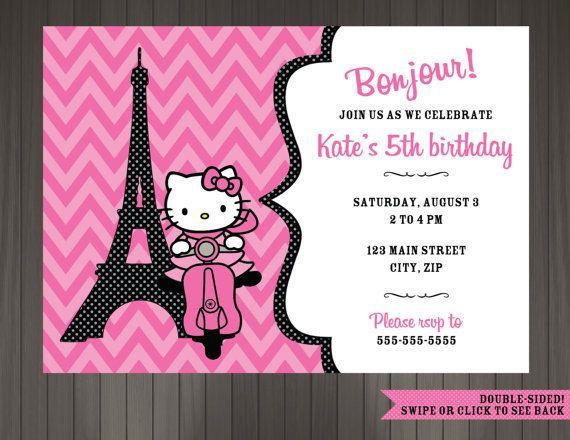 Hello Kitty Paris Themed Birthday Party Invitation - Printable Digital File by BirdSong Design Studio on Etsy