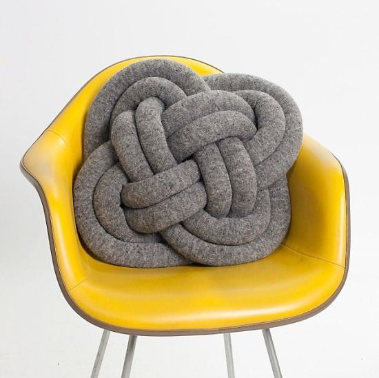 knot pillow & yellow chair
