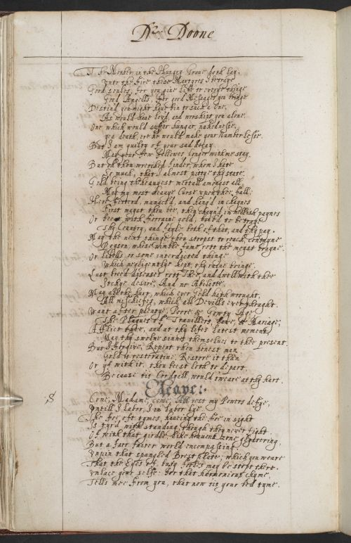 Another poet whose poetry was circulated in manuscript form was John Donne (1572–1631). Donne was famous in his own day for his sermons, which are rhetorical masterpieces largely written when he was Dean of Saint Paul's in London. Today he is more famous as a poet who wrote complex, cryptic & erotic verse. In his youth, a contemporary wrote that he was 'a great visitor of Ladies, a great frequenter of Plays, a great writer of conceited Verses'. When he did marry, at age 29, it was in secret…