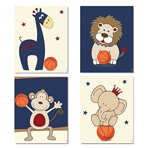 "Baby Boy Basketball Nursery Wall Art Decor Sports Animals Posters For Toddler's Room 8""x10"" / 11""x14"" Navy blue & Red / Light Blue & Orange, Set of 4 Unframed Posters. A set of 4 art prints for Boys Nursery (unframed) * Available in Navy blue & Red / Light Blue & Orange *Printed on photographic archival paper using pigment ink, guaranteed to last forever . *Available prints size: 8""X10"" (20X25cm) /11""x14"" (28cmx35cm) *Prints come carefully wrapped and packed to ensure your new art arrives..."