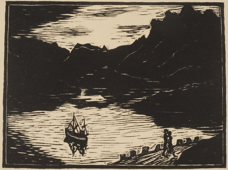 JOHN SAVIO (1902-1938) PENCIL SIGNED WOODBLOCK PRINT Titled 'Kvell ved Oran, Svolvar' and edition 70/100 lower left, signed lower right.