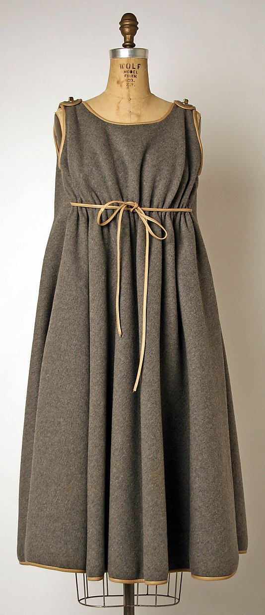 dress; bonnie cashin (1908-2000); manufactured by philip sills & co. (founded in 1946); fall/winter 1967-1968; wool and leather
