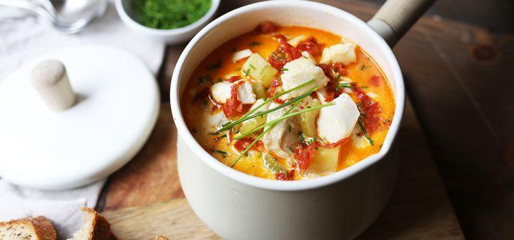 Torskesuppe med chorizo og selleri
