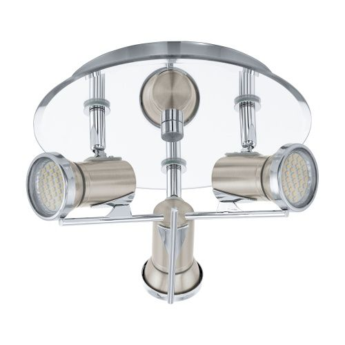 LED Bathroom Ceiling Spot Light Made From Steel With Satin Nickel Chrome Finishes It Has 3 X Adjustable Heads For Different Directions