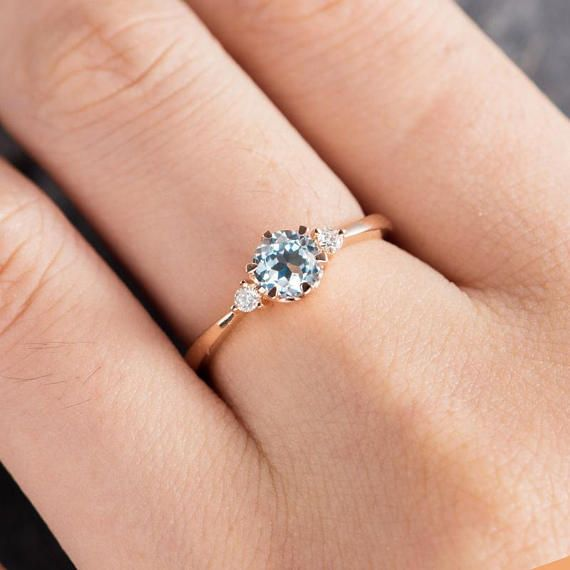 Aquamarine Engagement Ring Rose Gold 3 Stone Ring Diamond Thin Minimalist Birthstone March Promise Ring Anniversary Bridal Half Eternity