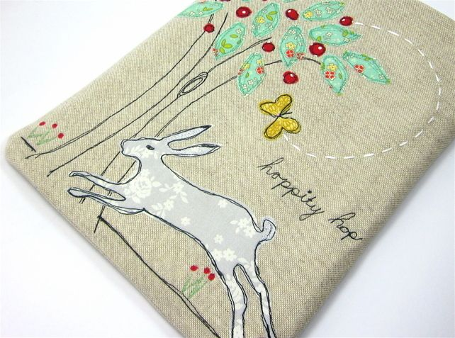 iPad Cover Leaping Hare in the woodland