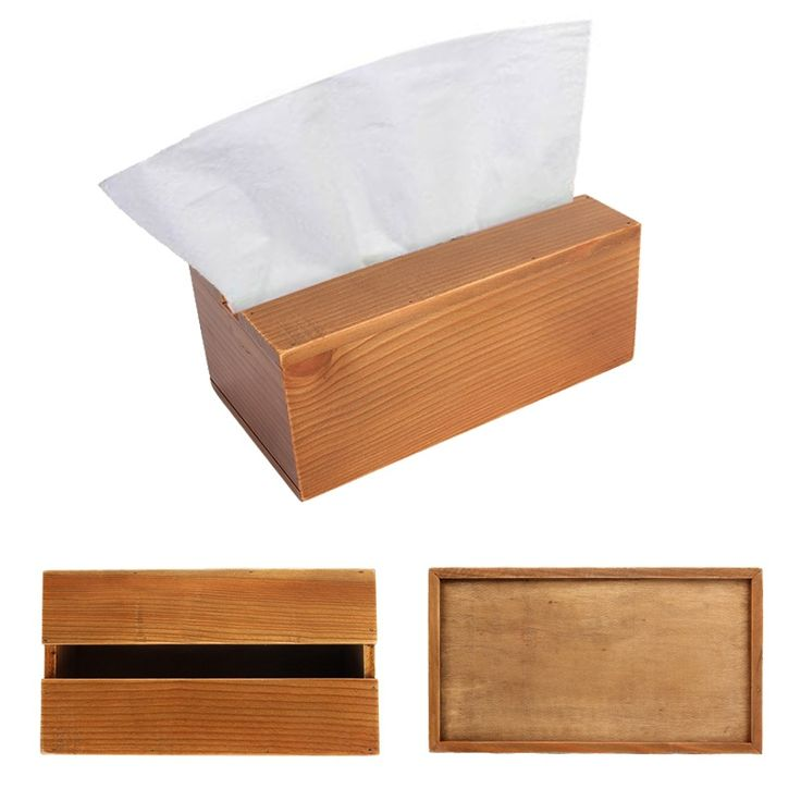 Napkins Container Paper Dispenser Wooden Facial Tissue Box Holder for Living Room