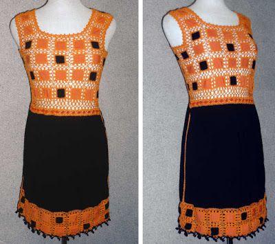 Vestido elaborado con modal negro y naranja, y tejido a crochet en hilo de color anaranjado, talla S