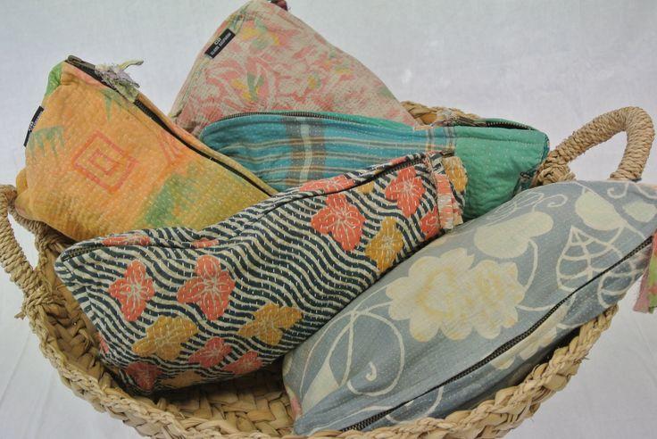 Vintage kantha pouches